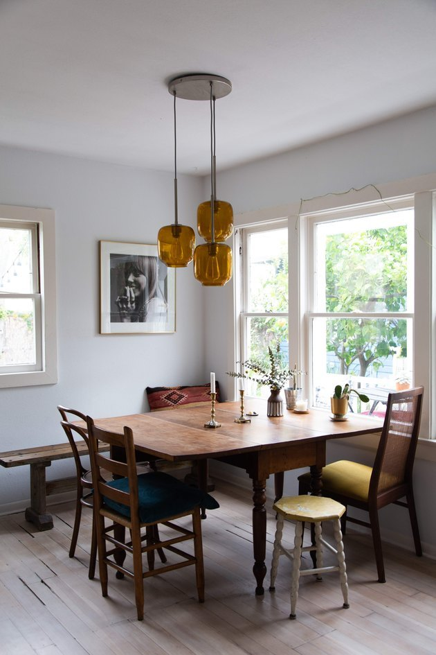 dining room space in a craftsman house with wood furniture and neutral walls