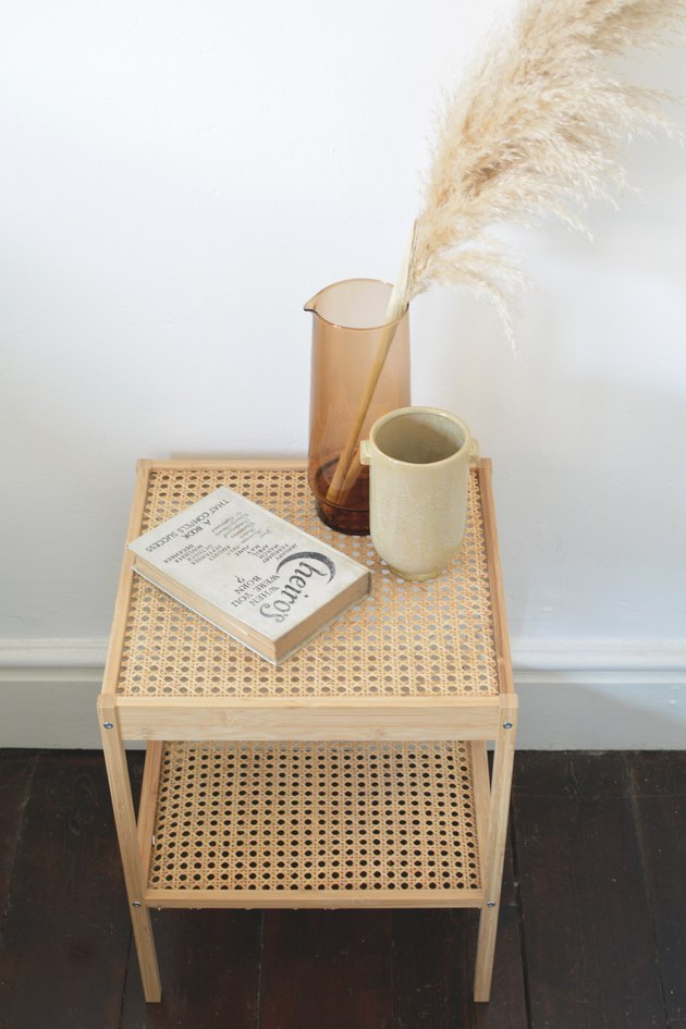 IKEA side table hack using cane material