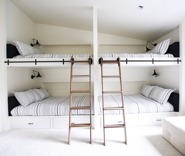 minimalist bedroom with bunk beds