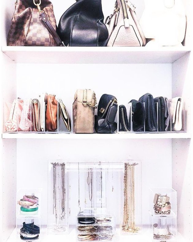 purse storage in closet with clear acrylic dividers