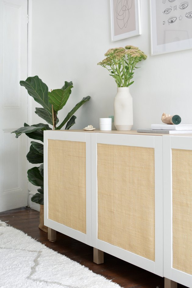 IKEA cabinet makeover using cane material