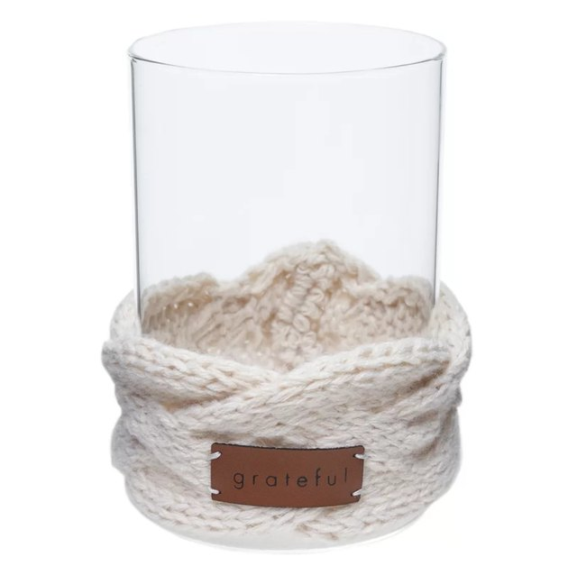 glass candle holder with knit wrap