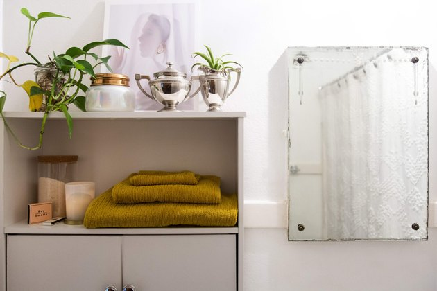 Bathroom mirror and shelves