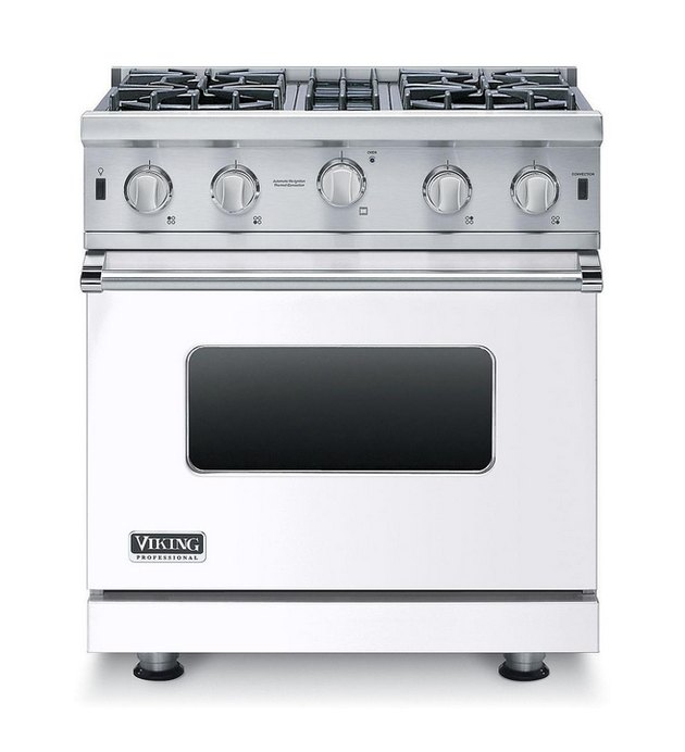 White Kitchen Appliance: Viking 30 Inch Gas Range