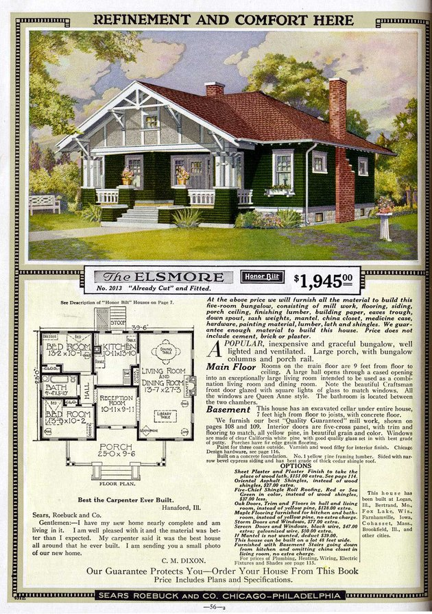 Sears Catalog color ad with Craftsman home, floor plan, and text