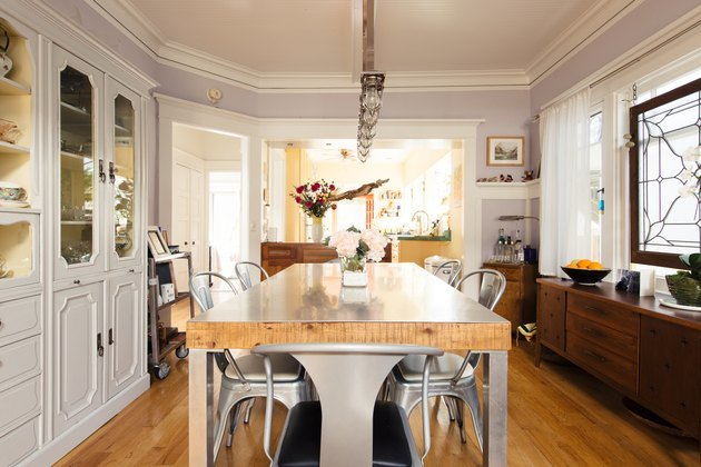 dining room space in Craftsman home with wooden table