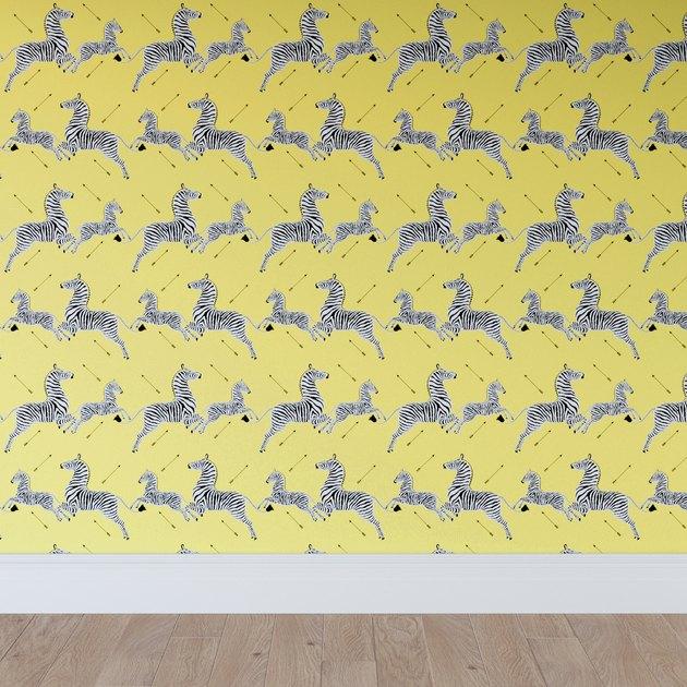 yellow zebra and arrow wallpaper