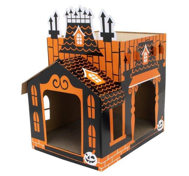 orange and black haunted house cat scratcher