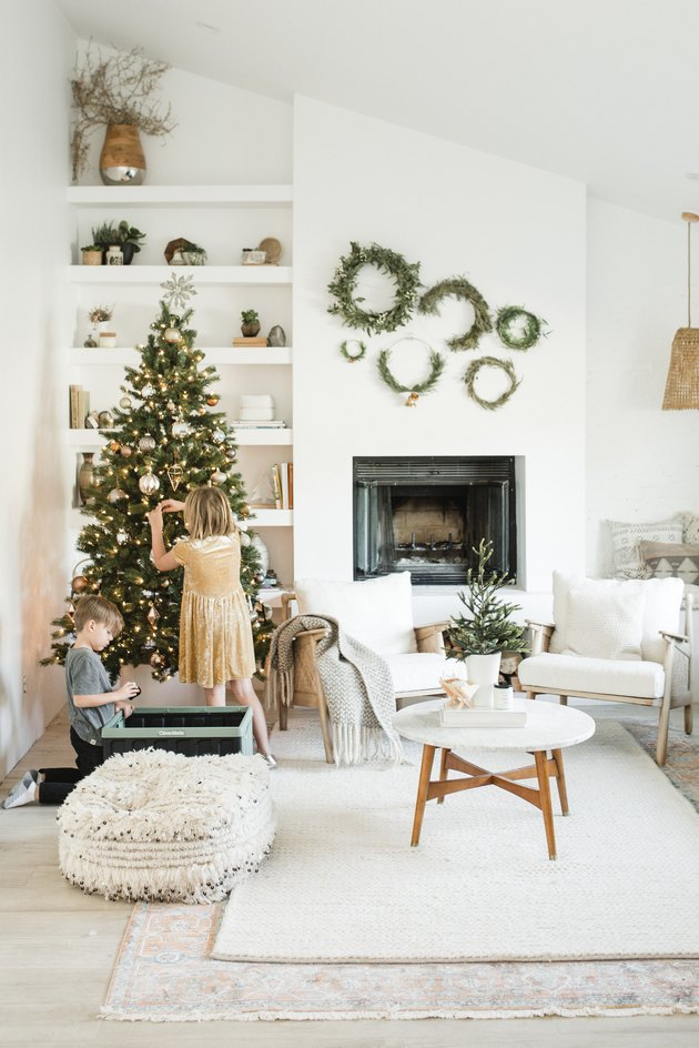 Christmas tree and decor in living room