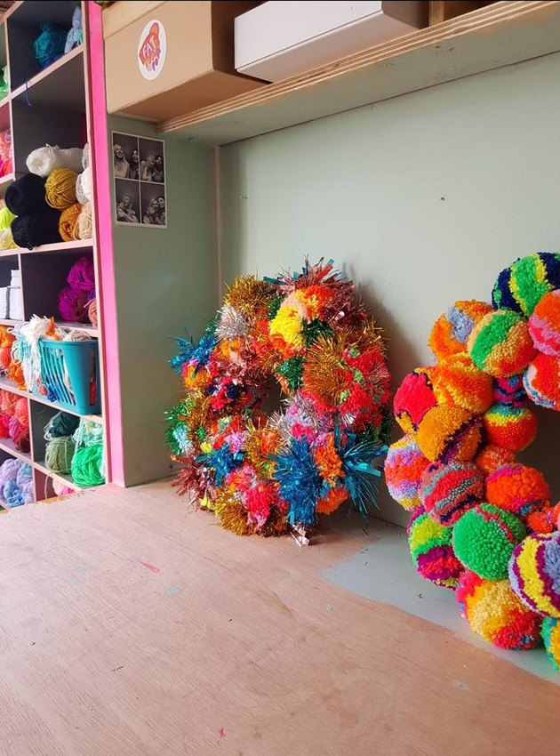 colorful pom pom wreaths