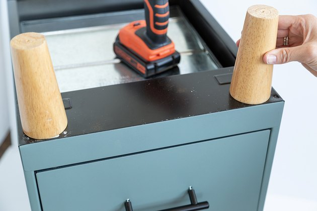 add wood legs to filing cabinet