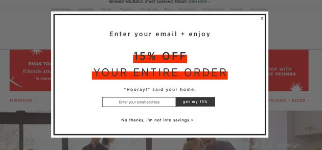 email signup discount