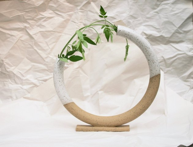Large curved circular bud vase by Mimi Ceramics