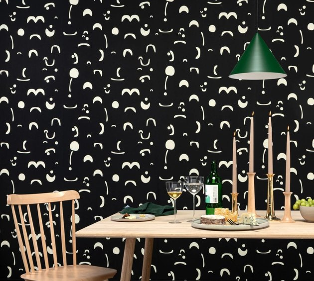 table scene with patterned wallpaper