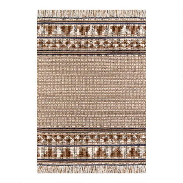 multicolor brown wool area rug