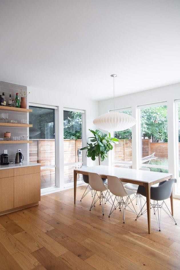 kitchen with midcentury pendant lighting