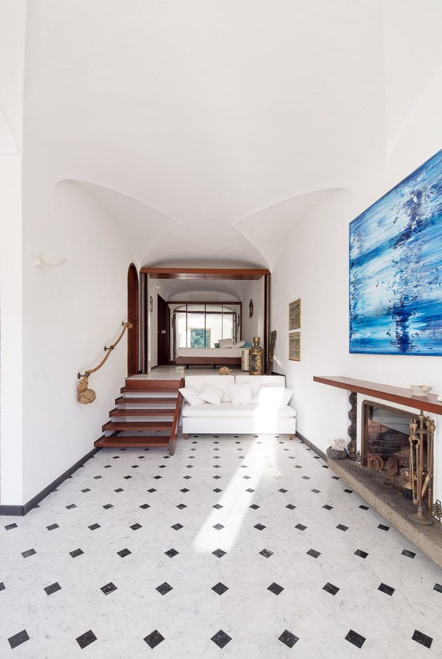 nautical living room with marble floors