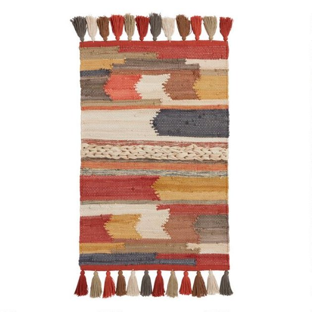 multicolor arrow rug with tassels