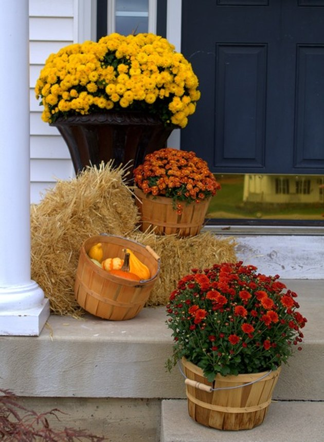 fall inspired porch decor with fresh florals