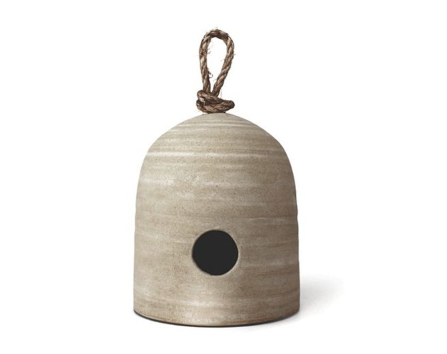 One Kings Lane farmhouse decor with stoneware birdhouse