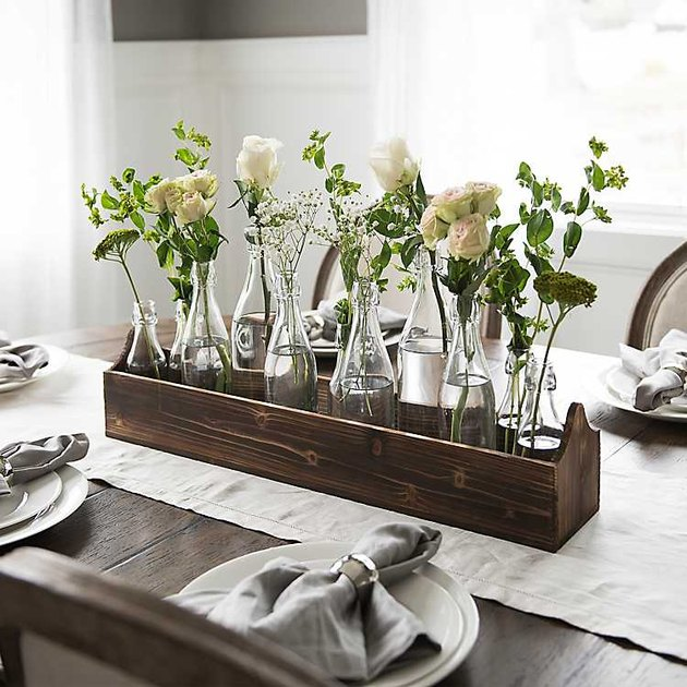 Kirkland's farmhouse decor with wood crate and vase set on dining room table