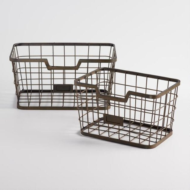 World Market farmhouse decor with wire baskets for storage