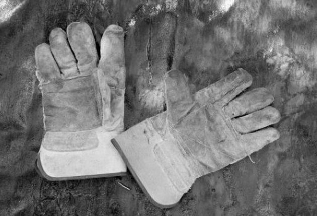 A pair of work gloves.