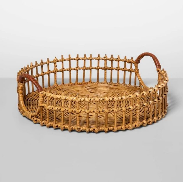 rattan tray with leather handles