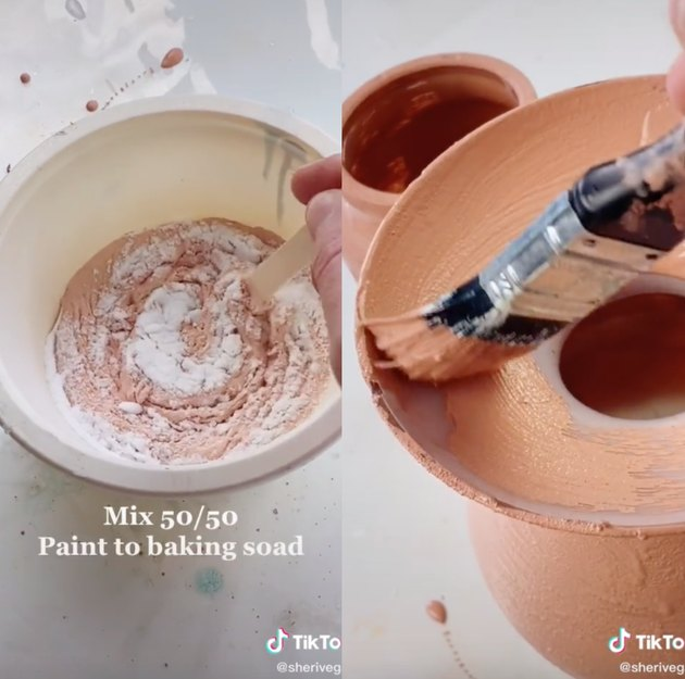 side by side image of TikTok video showing how to make terracotta pots