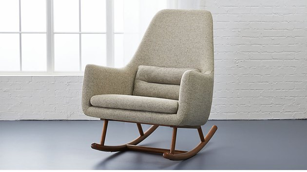 CB2 contemporary rocking chair with wood frame