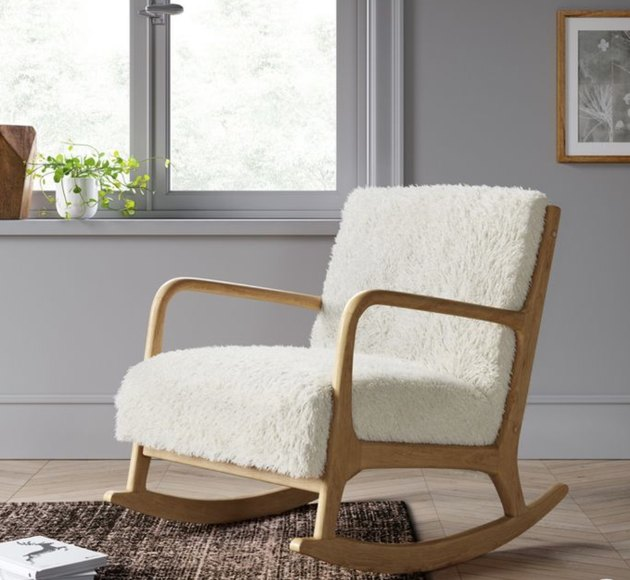 Target contemporary rocking chair made with nubby sherpa and wood