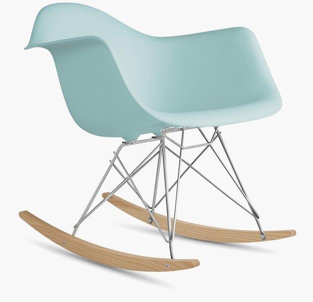 Eames contemporary rocking chair made of pale blue fiberglass