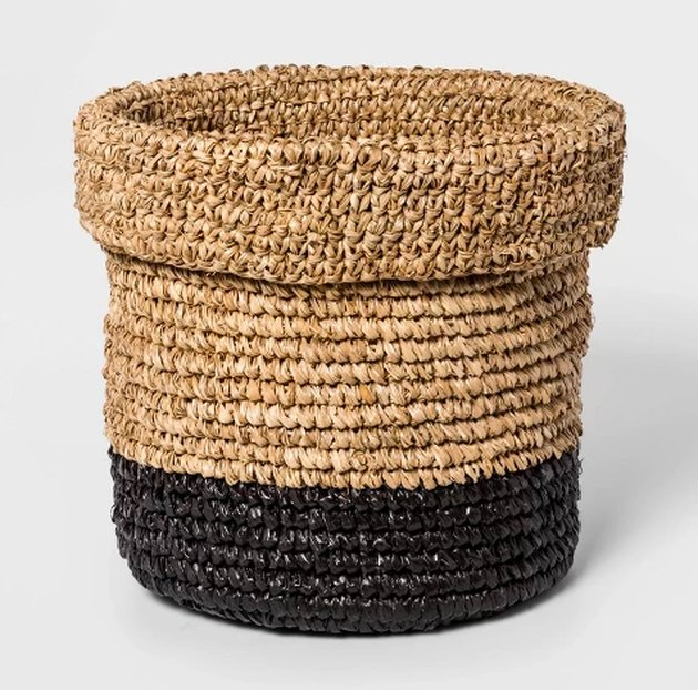 woven basket with black bottom