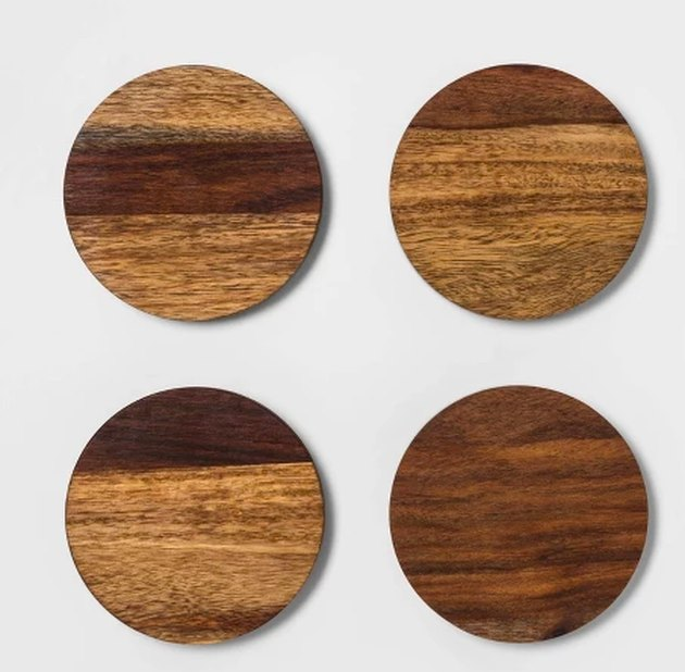 set of four wood coasters