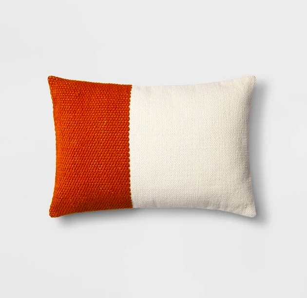 colorblock pillow with red and white