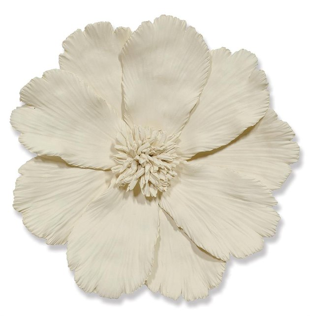 Palecek Ceramic Global Ivory Ceramic Floral Wall Sculpture