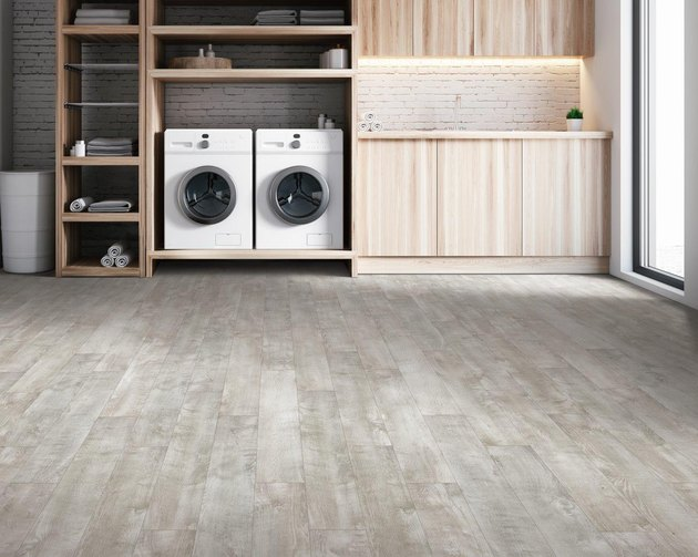 Vinyl flooring in laundry room.
