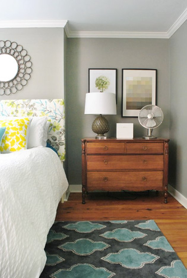 moody griege bedroom color idea with yellow and blue accents  accent
