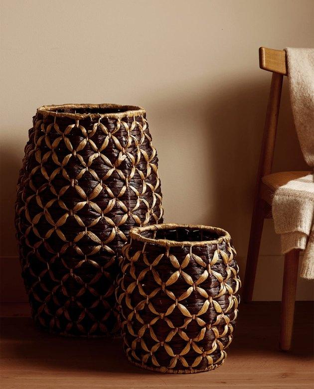 two baskets near a chair