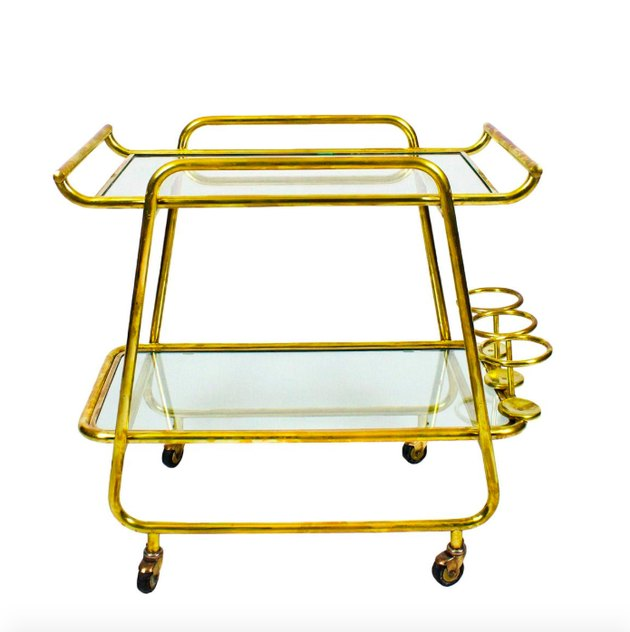 vintage gold bar cart