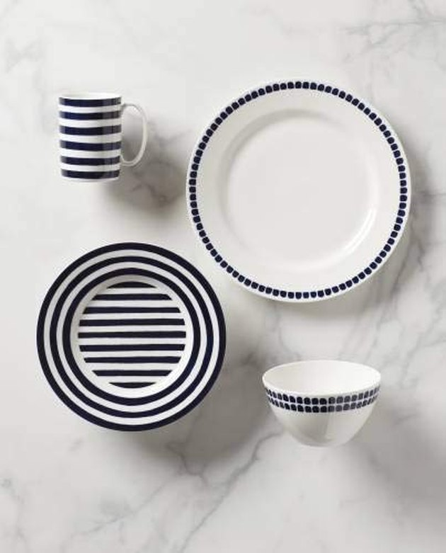 navy striped and dotted place setting