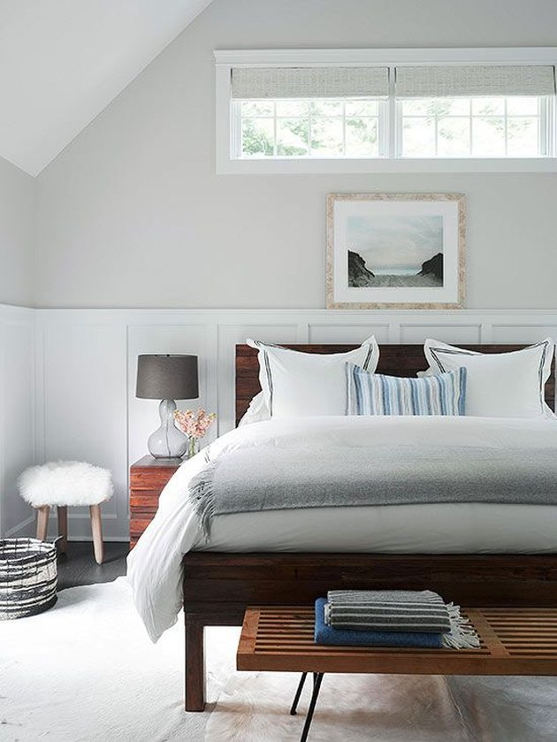 greige bedroom color idea with board and batten wainscoting