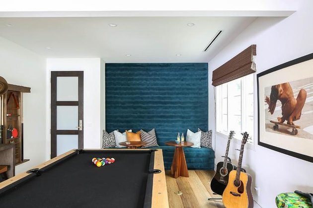 garage game room ideas with velvet seating and pool table