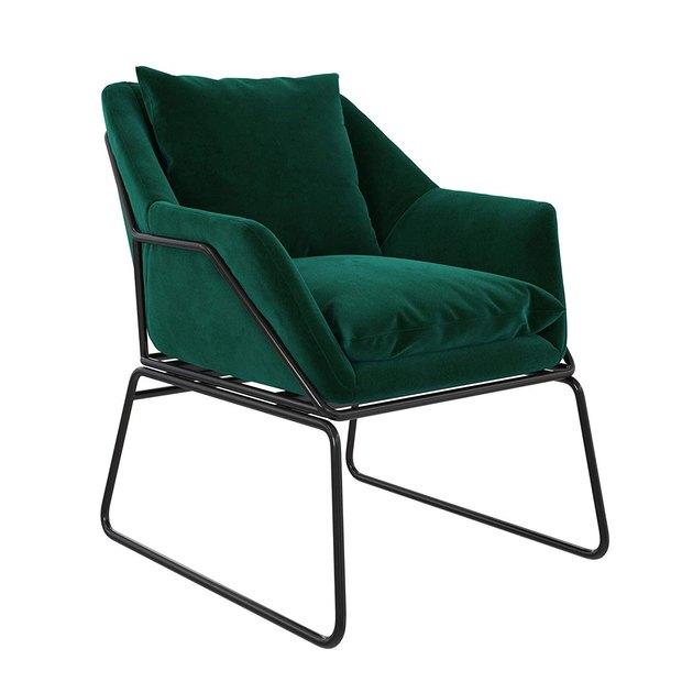 green velvet chair with black frame