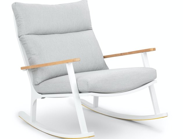 Article contemporary rocking chair made with white powder coated frame and padded seat