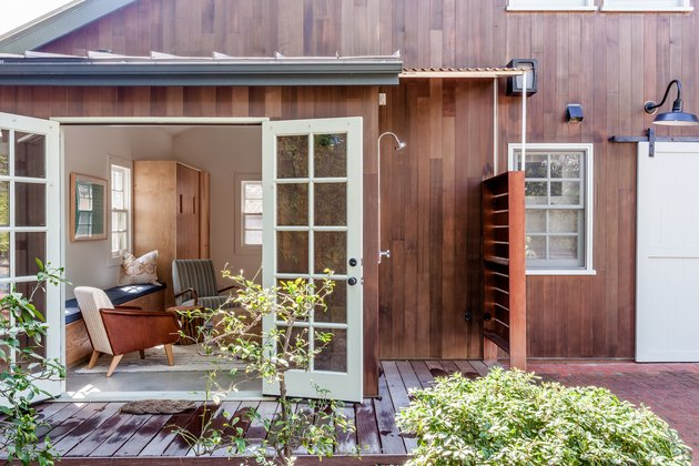 Shaker-inspired barn with an outdoor shower in Los Angeles