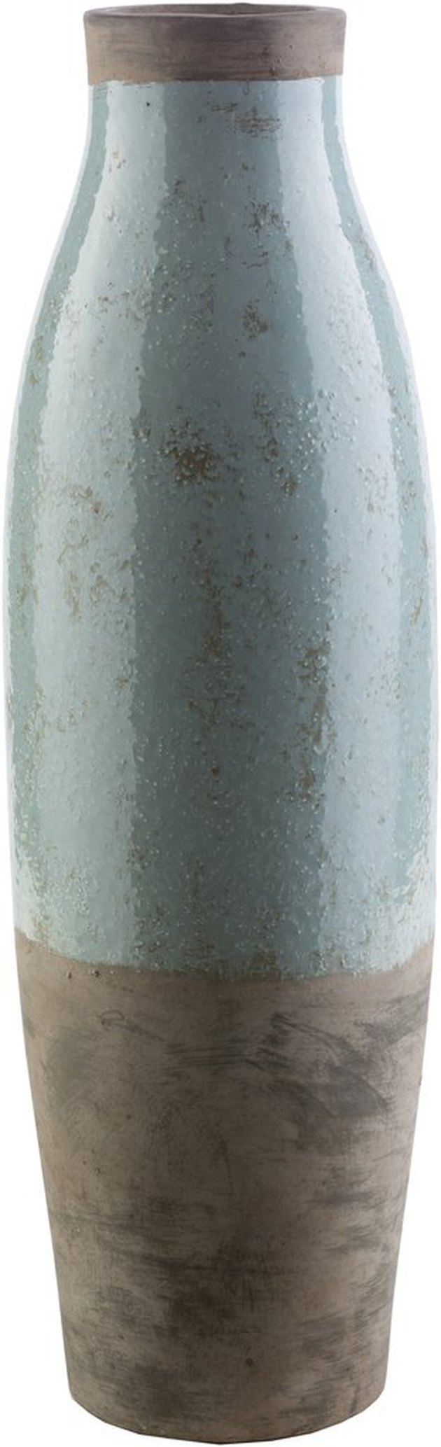 Tall cylinder ceramic vase with lower third brown and top 2/3s neutral blue