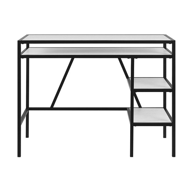 black desk with shelving