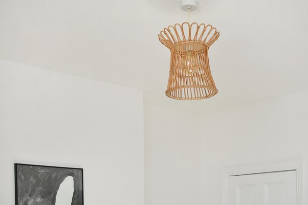 Boho pendant lighting from an IKEA basket.