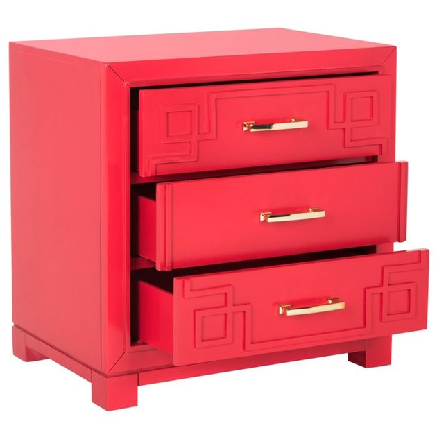 red nightstand with gold handles